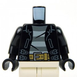 Lego Accessoires Minifig Torse - Veste en cuir noir avec maillot rayé & boucle de ceinture (Noir) (La Petite Brique)