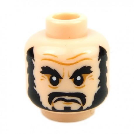 Light Flesh Minifig, Head Beard Black, Bushy Eyebrows, Moustache