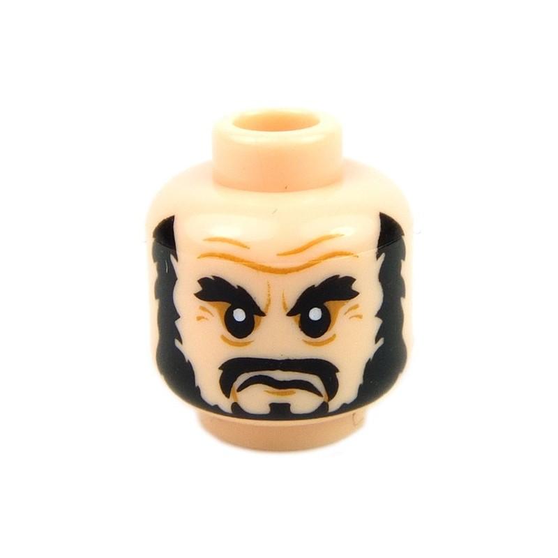 Thick Black Eyebrows Head Beard Black Full Light Flesh Minifig LEGO