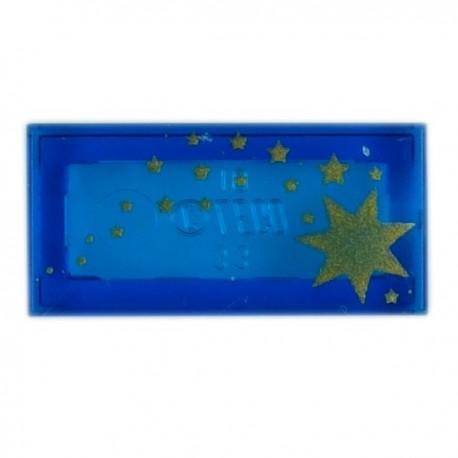Tile 1x2 Stars Gold (Trans-Dark Blue)