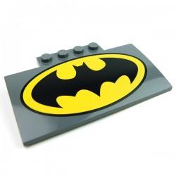 Lego Accessoires Minifig Logo Batman, pièce incurvée 5 x 8 x 2/3 (Dark Bluish Gray) (La Petite Brique)