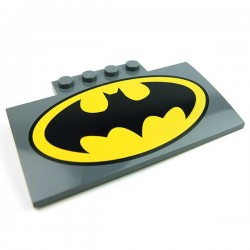 Slope, Curved 5 x 8 x 2/3 with Batman Logo (Dark Bluish Gray)