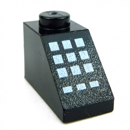 Black Slope 45 2 x 1 with 9 Large + 3 Small White Buttons