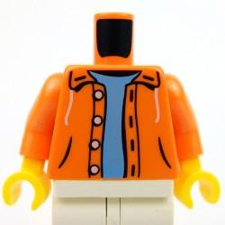 Lego Accessoires Minifig Torse - veste à capuche (Orange), pull bleu clair (La Petite Brique)