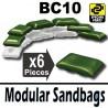 Lego Accessoires Minifig Si-Dan Toys 6 Sacs de sable BC10 (Vert Militaire) (La Petite Brique)