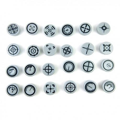 Lego Accessoires Minifig CUSTOM BRICKS Pack de 24 Jauges (Tile rond 1x1 - Light Bluish Gray) (La Petite Brique)