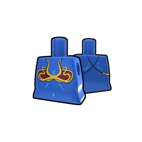Blue Curved Torso with Brass Brassiere