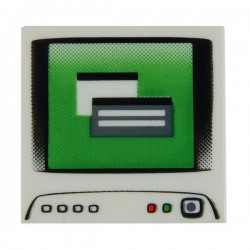 Computer Monitor - Tile 1x2 (White)