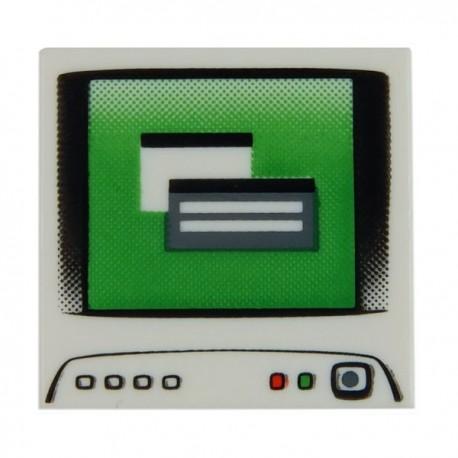 Lego Accessoires Minifig Ecran Ordinateur - Tile 2x2 (Blanc) (La Petite Brique)