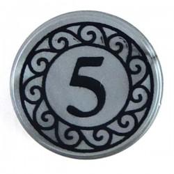 Flat Silver Tile, Round 1x1 Black Coin, 5 mark