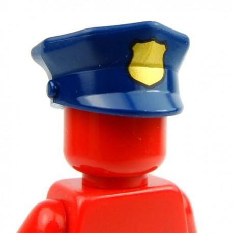 Lego Accessoires Minifig Casquette avec insigne de Police (Dark Blue) (La Petite Brique)
